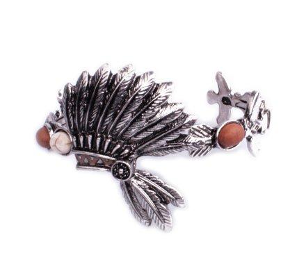 Bracelet Lolilota ethnique coiffe indienne argent perles marrons