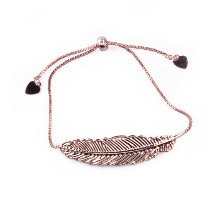 Bracelet réglable métal cuivré plume