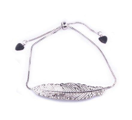 Bracelet réglable métal argent plume