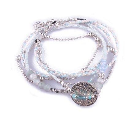 Bracelet Lolilota perles et tresses médaille arbre bleu et gris