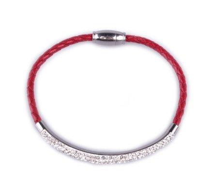 Bracelet MYLE MYLA tresse rouge jonc strass acier inoxydable