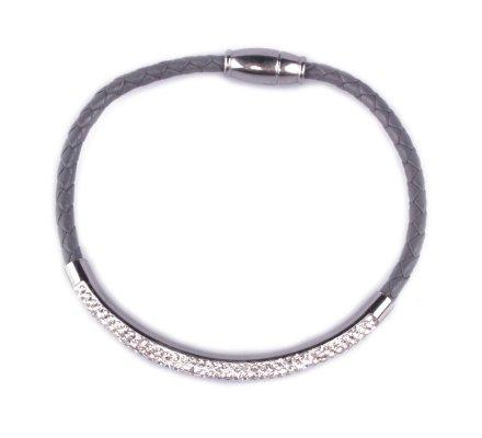 Bracelet MYLE MYLA tresse grise jonc strass acier inoxydable