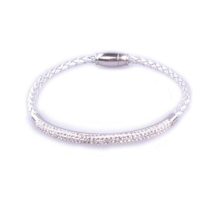 Bracelet MYLE MYLA tresse argent jonc strass acier inoxydable