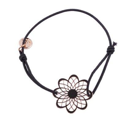 Bracelet Lolilota élastique noir marguerite filigrane dorée