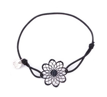 Bracelet Lolilota élastique noir marguerite filigrane argent