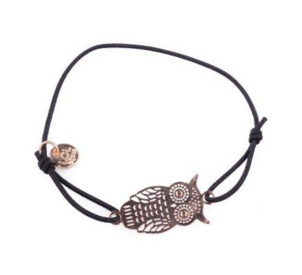 Bracelet Lolilota élastique noir hiboux filigrane doré