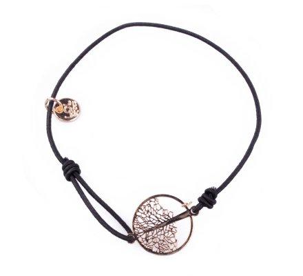 Bracelet Lolilota élastique noir arbre filigrane doré