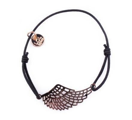 Bracelet Lolilota élastique noir aile d'ange filigrane doré