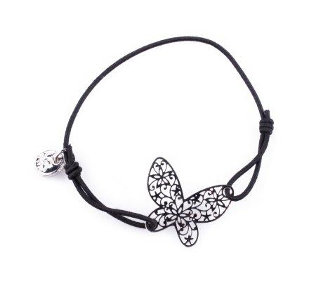 Bracelet Lolilota élastique noir papillon filigrane argent
