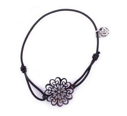 Bracelet Lolilota élastique noir fleur filigrane argent