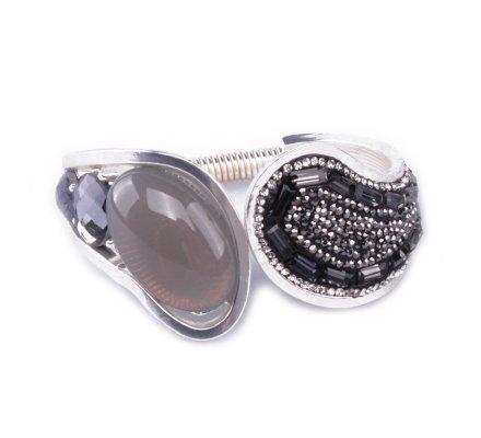 Bracelet Manchette écume de perles noires et grises