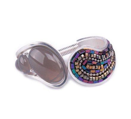 Bracelet Manchette écume de perles multicolores et grises