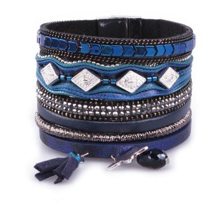 Bracelet LOL Manchette bleu et gris losanges dorés et étoile