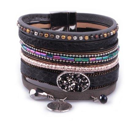 Bracelet LOL Manchette noir arbre argent et perles