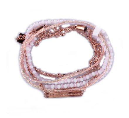 Bracelet acier MILE MILA double «Merveilleuse de mère en fille» cuivré rose et blanc
