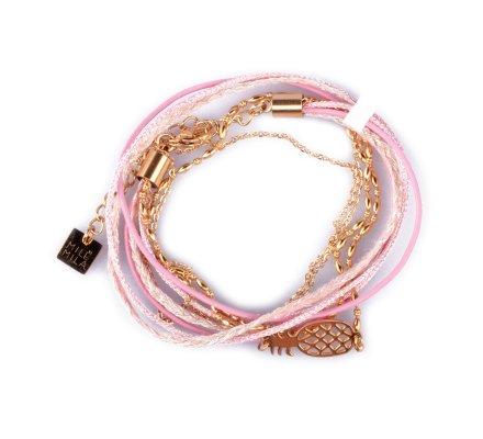 Bracelet acier MILE MILA double Ananas doré et rose