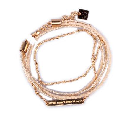 Bracelet acier MILE MILA double «Use your smile to change the world» doré et beige