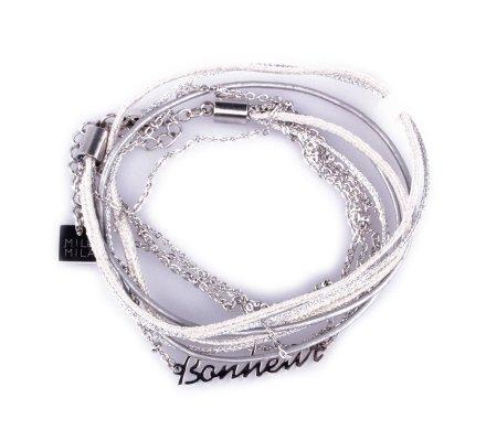 Bracelet acier MILE MILA double «Bonheur» argent et gris