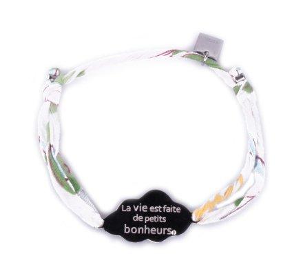 Bracelet réglable Nuage «La vie est faite de petits bonheurs» acier argent tissu blanc fleuri jaune vert et bleu