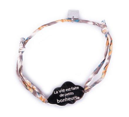 Bracelet réglable Nuage «La vie est faite de petits bonheurs» acier argent tissu gris fleuri jaune et bleu