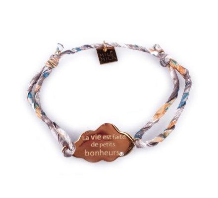 Bracelet réglable Nuage «La vie est faite de petits bonheurs» acier doré tissu gris fleuri jaune et bleu