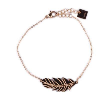 Bracelet MILE MILA acier doré plume fantaisie