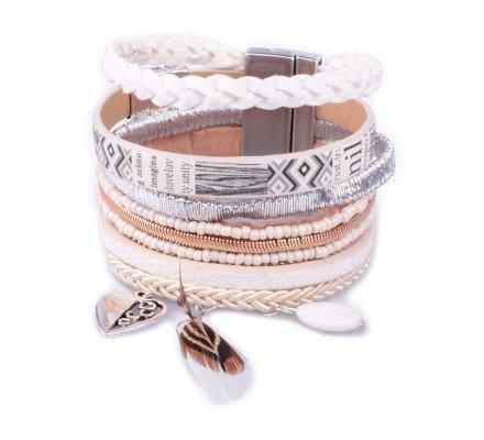 3757ef74406b Bracelet manchette LOL blanc argent doré cœur et plume - 6958