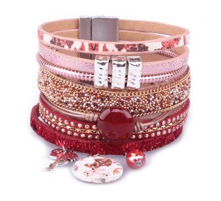 Bracelet manchette LOL rouge flamant rose et résine fleurie