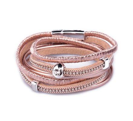 Bracelet multirangs LOL bille strassée rose cuivré
