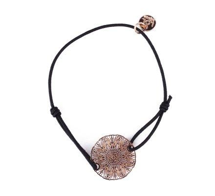 Bracelet LOL élastique noir soleil rosace filigrane doré