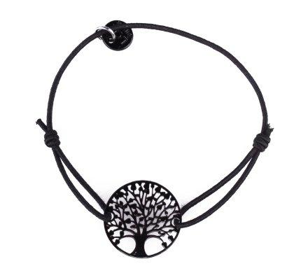 Bracelet LOL élastique noir arbre de vie filigrane noir