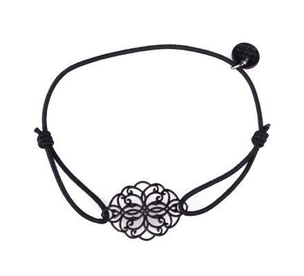 Bracelet LOL élastique noir rosace allongée filigrane noir