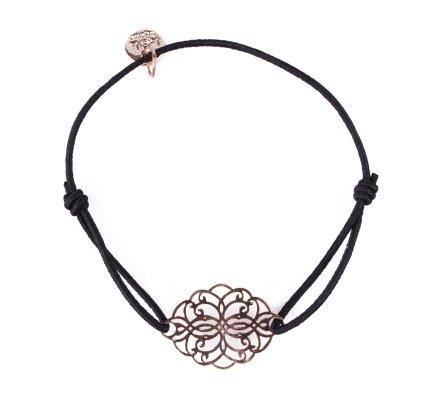 Bracelet LOL élastique noir rosace allongée filigrane doré