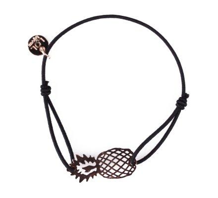 Bracelet LOL élastique noir ananas filigrane doré