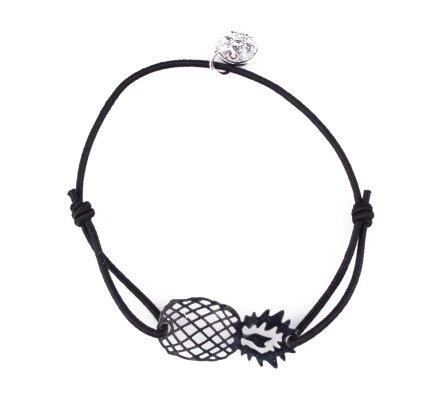 Bracelet LOL élastique noir ananas filigrane argent