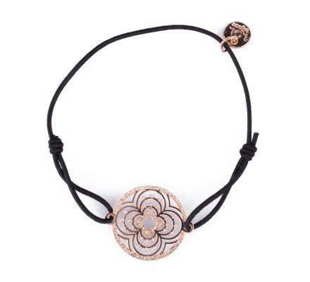 Bracelet LOL élastique noir rosace à trèfles filigrane dorée