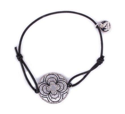 Bracelet LOL élastique noir rosace à trèfles filigrane argent
