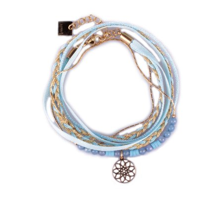 Bracelet acier MILE MILA double tour doré bleu et rosace dorée