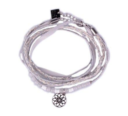 Bracelet acier MILE MILA double tour gris blanc et rosace argent