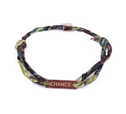 Bracelet réglable MILE MILA «Chance» acier cuivré tissu noir bleu vert
