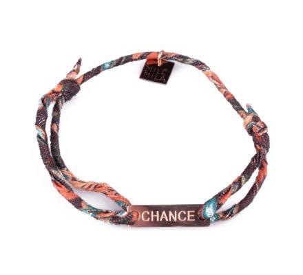 Bracelet réglable MILE MILA «Chance» acier cuivré tissu marron orange bleu