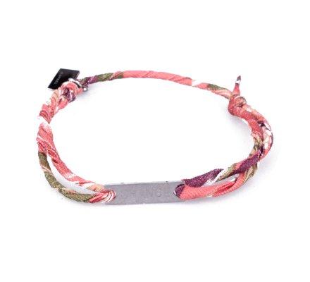 Bracelet réglable MILE MILA «Chance» acier argent tissu corail vert mauve