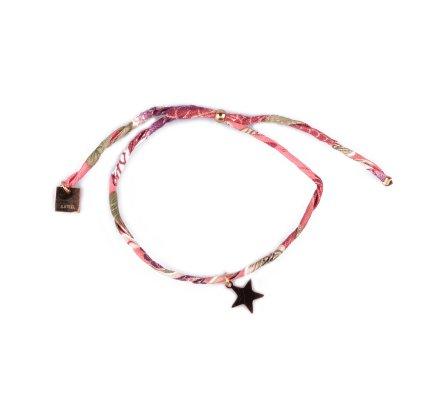 Bracelet réglable MILE MILA Etoile acier doré tissu corail vert prune