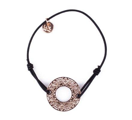 Bracelet LOL élastique noir Rondelle fleurie filigrane doré