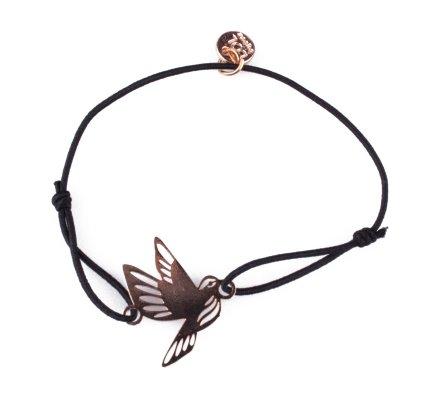 Bracelet LOL élastique noir Colombe filigrane doré