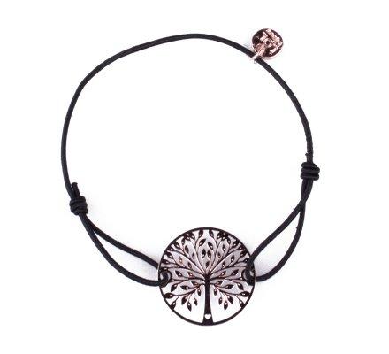 Bracelet LOL élastique noir Rosace arbre de vie filigrane cuivré
