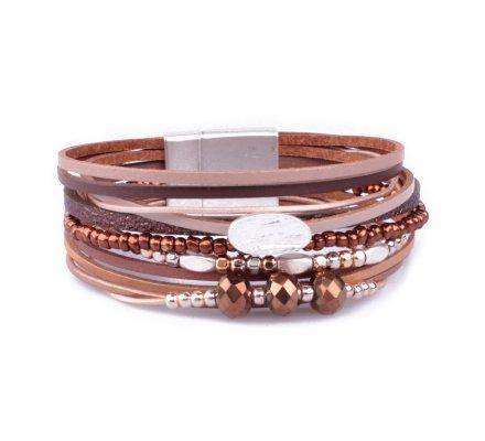 Bracelet aimanté marron perles argent et cuivrées pastille empreinte