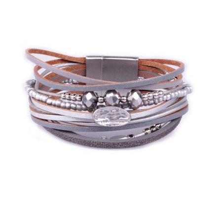 Bracelet aimanté gris perles argent et grises pastille empreinte