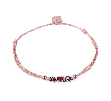 Bracelet fin réglable MILE MILA Amour acier rose gold et tissu cuivré