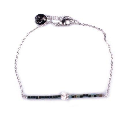 Bracelet fin acier argent perles vertes et boule blanche strass